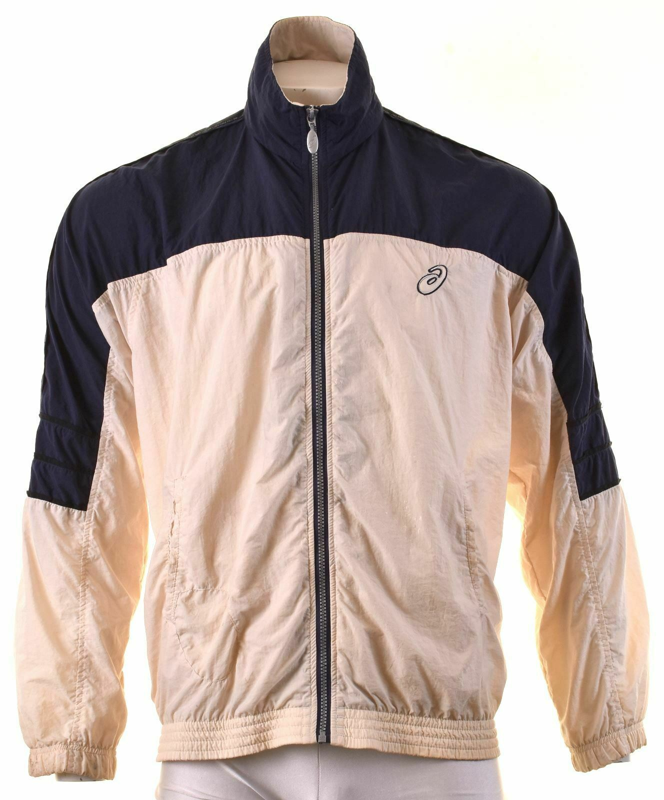 ASICS Mens Tracksuit Top Jacket Large Off White Polyamide KJ06