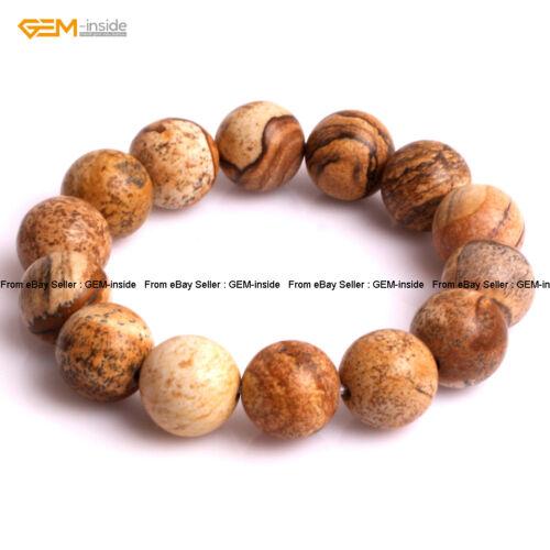 """Hommes Pierre Naturelle Photo Jasper Perles Guérison énergétique de Perles Bijoux Bracelet 7/"""""""