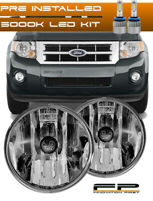 Front Fog Light Lens and Housing Compatible with 2007-2012 Ford Escape Set of 2 Passenger and Driver Side