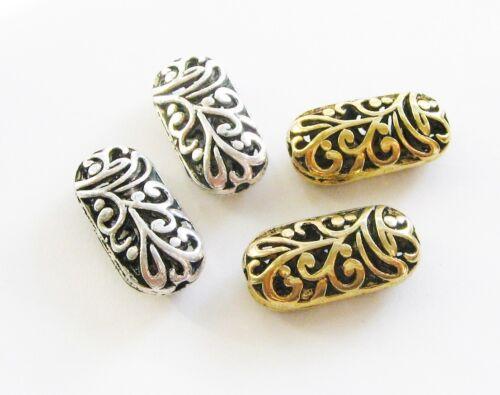 Metal perlas metallspacer oval hueco plata//oro 5 unidades erajosy