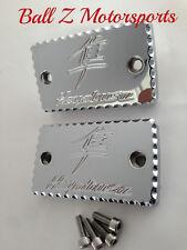 99-07-08-17 Hayabusa Chrome Ball Cut Brake/Clutch Mastercylinder Reservoir Caps!