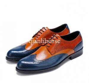wedding-men-039-s-color-matching-brogue-wing-tip-lace-up-dress-formal-shoes-leather