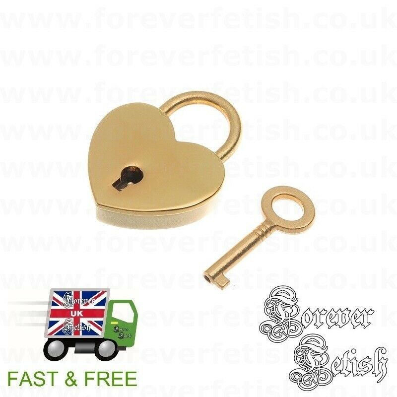 Gold Heart Padlock for Chokers Lockable Collars Bondage Restraints BDSM