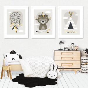 Details zu Bild Set Kunstdruck A4 Tribal Bär Traumfänger Tipi Kinderzimmer  Deko Geschenk