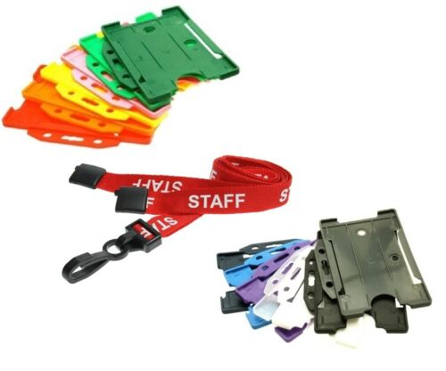 Red Staff Breakaway Plastic Clip Lanyard with Landscape ID Card Holder