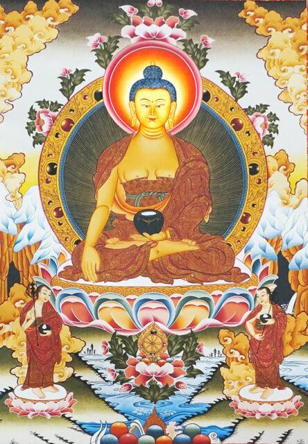 "24/"" Tibet Buddhist Thangka Deity Shakyamuni With 2 Disciples Silk Wood Scroll"