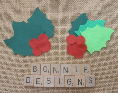 Large x6 FELT HOLLY LEAVES /& x9 Red BERRIES die cut Christmas Bunting Appliqués