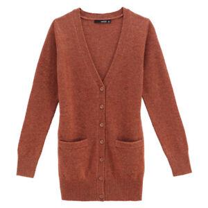 VANCL-Women-Premium-Wool-Cardigan-Dark-Orange-Medium-NWT
