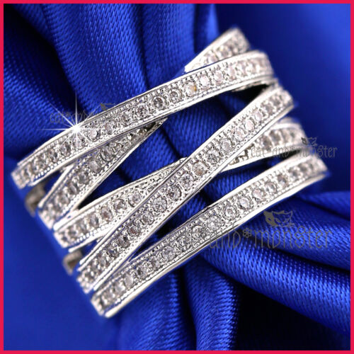 9K WHITE GOLD GF LADIES KISS CROSS WEDDING DRESS COCKTAIL CRYSTAL BAND RING GIFT