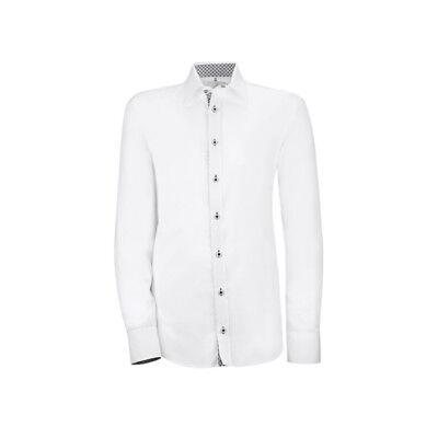 Neu 2 Wahl Gerade Greiff Herren-hemd Langarm Modern Slim 6663 Weiß Gr 37/38 S