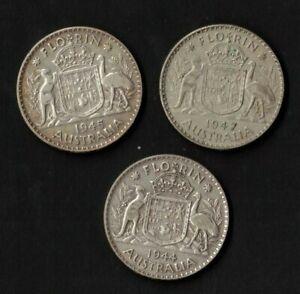 1944-46-47-Australia-Florin-3-coins-Fine