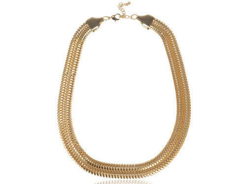 Womens Gold Tone Multi Layer Urban Venetian Chunky Statement Chain Necklace