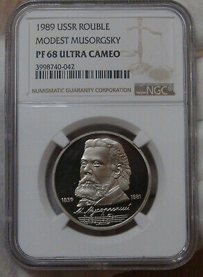 Russia USSR 1989 Silver 3 Roubles Anniversary First All Russian Coinage NGC PF68