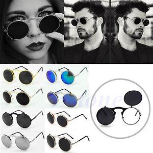 25046f2dec3c8 Vintage Men Women Steampunk Goggles Round Metal Flip Up Sunglasses ...