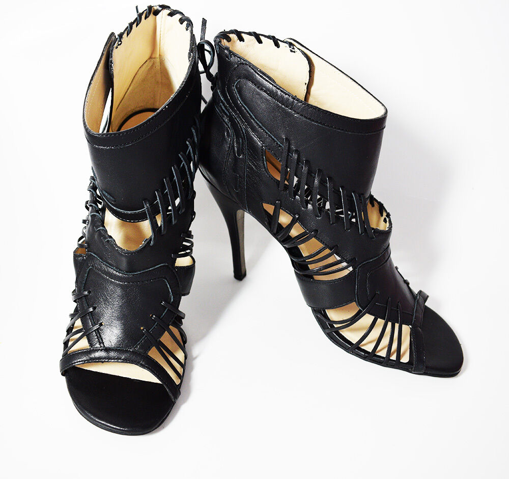 Noe Noe Noe Tacón Alto Zapatos Sandalias De Cuero Para Mujeres Tobillo Tacón de 4  UK 8 41 euros  100% garantía genuina de contador