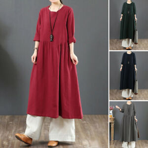 ZANZEA 8-24 Women Long Sleeve Midi Kaftan Abaya Pleated Flare Swing Shift Dress