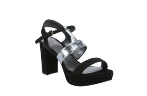 New Stuart Weitzman Black Suede Post Up Heel Sandals Sz 39 US 9