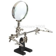 4X Stand Helping Hand Magnifier Magnifying Glass With 2 Clamp Jeweler Watch Tool