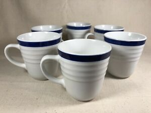 7c3775b9753 Details about Gibson Everyday Coffee Mugs Tea Cups Set of 6 Stoneware 10 oz  White Blue Stripe