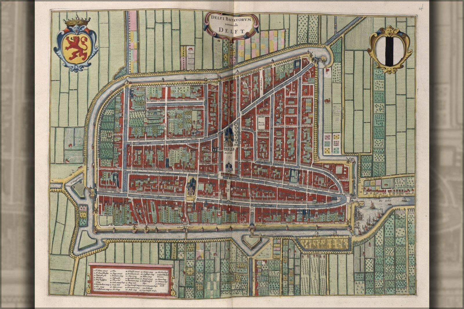 Poster, Many Größes; Map Of Delft Netherlands 1642