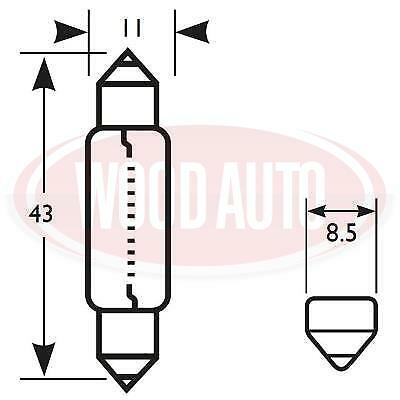 2 X BLB265 265 12 VOLT 10 WATT FESTOON CAR VAN CAMPER INTERIOR  BULB 11 x 43mm