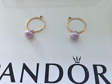 250409PLP -  Pandora Compose 14K Gold Earrings - Pale Violet Pearl