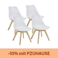Esszimmerstühle AARHUS, 4er Set, Weiss mit Beinen aus Massiv-Holz, Buche