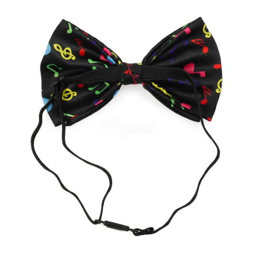 Black Rainbow Music Notes Bow Tie Adjustable Pre-tied Clip-on  Bow Tie Necktie