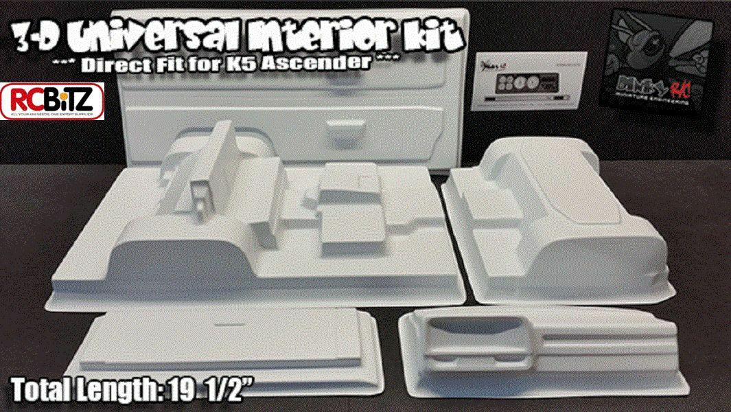 3D KIT INTERNI UNIVERSALE BIANCO DINKY R C porta carte Dash siwv 6 K5 Blazer SCX10