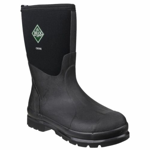 Muck Boots Chore Classic Mid Black Textile//Weather Wellingtons Neoprene