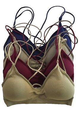 Seamless Caged Back Strappy Bra Crop Top Scoop neckline Bralette Bustier Padded