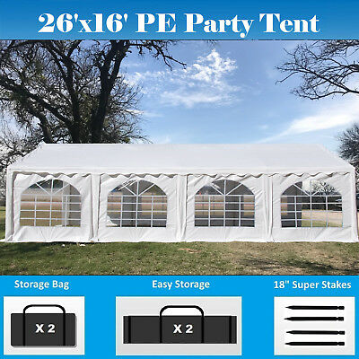 16 x 26 Ft White Canopy 4-Sidewalls Heavy Duty Wedding Shelter Walls for Partys