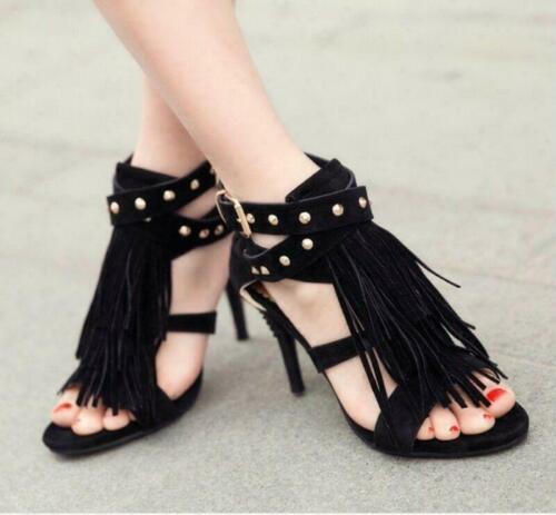 Details about  /Tassels Suede Rivet Womens Sandals Shoes Cross Strap Stiletto High Heels Fashion