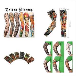 10b82350b 6 Pcs Arts Fake Temporary Tattoo Arm Sunscreen Sleeves Designs Tiger ...