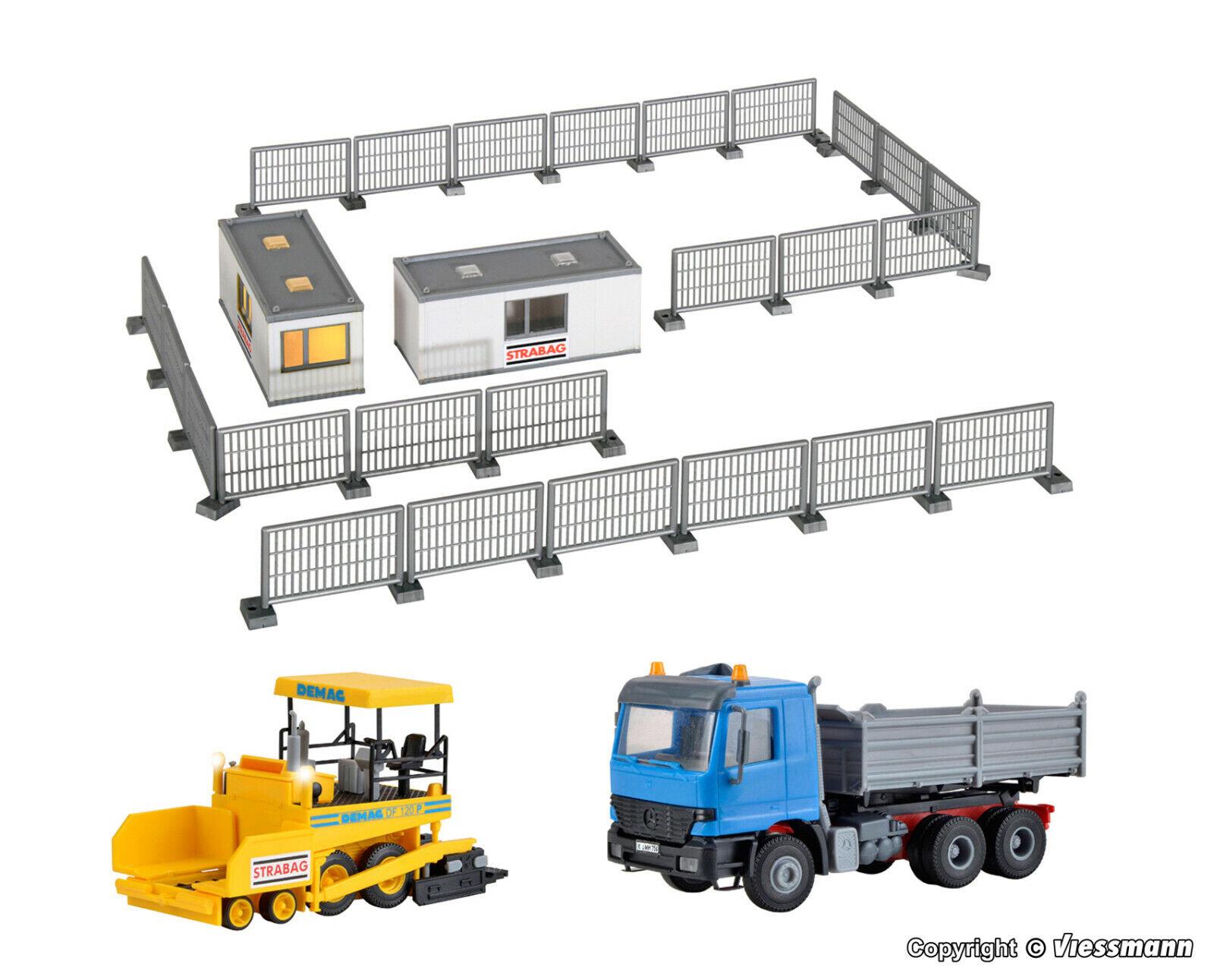 Kibri h0 14000 Set costruzione di strade Demag soffitto industriali, MB a cassoni ribaltabili, Nuovo Scatola Originale