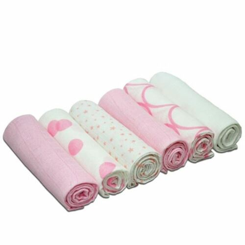 Pink Printed 1 2 3 6 12 Packs Cuddles Collection 6 Muslin Squares