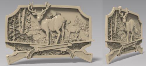 STL 3D Model # DEER /& RIFLES #  for CNC Aspire Artcam 3D Printer