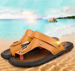 d246df98adac8 Men's Flip Flops Genuine Leather Slippers Summer Beach Casual Sandal ...