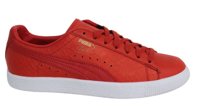 PUMA Clyde Dressed Men s Shoes Real Leather Sneaker Trainers Red ... 42a2598a4