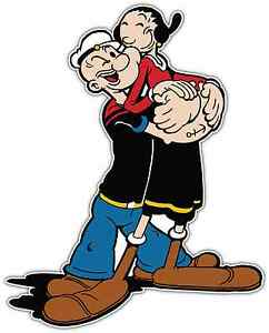 Popeye Olive Oyl Kids Cartoon Car Bumper Window Locker Sticker