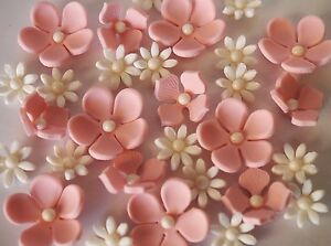 Details About Soft Pink White Edible Flowers CUPCAKE TOPPER Wedding Birthday Cake Decoration