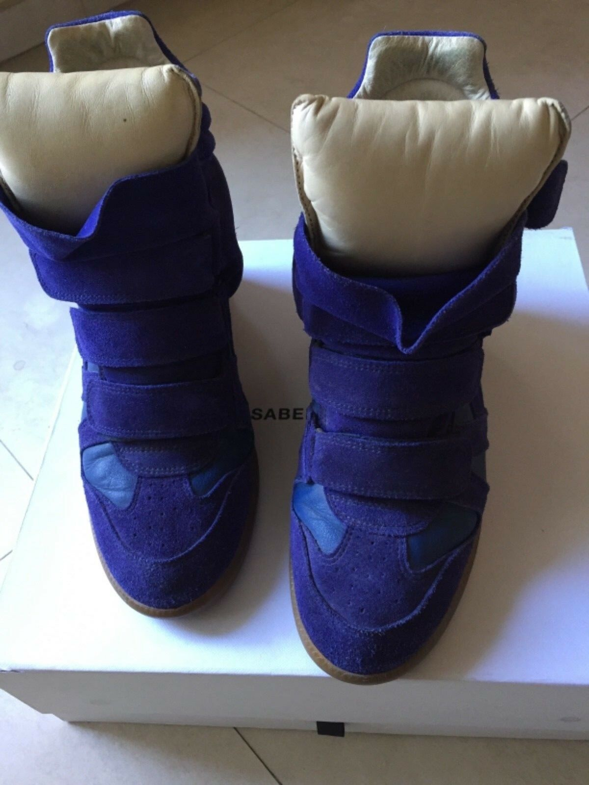 Isabel MARANT Beckett Cobalt Blue in pelle scamosciata Scarpe da Ginnastica Hi Tops Taglia FR 39