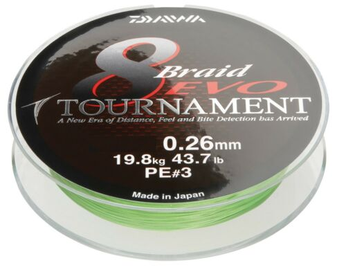 Daiwa Tournament 8 Braid Evo 0,18mm 15,8kg 300m Chartreuse Geflochtene Schnur
