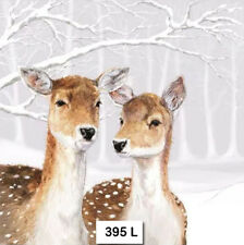 (395) TWO Individual Paper Luncheon Decoupage Napkins - DEER, WINTER FALLOW