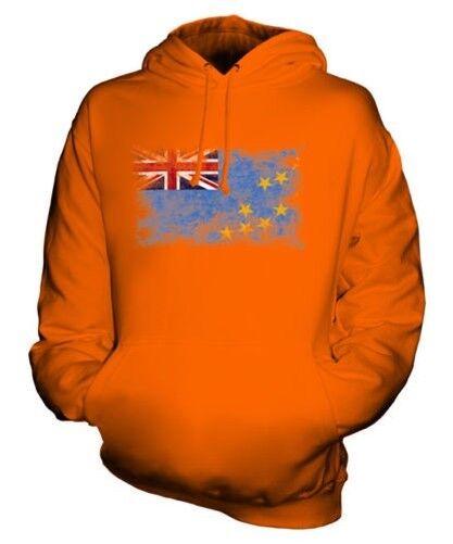 TUVALU DISTRESSED FLAG UNISEX HOODIE TOP TUVALUAN FOOTBALL JERSEY GIFT