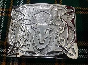 Men's Highland Kilt Belt Buckle Stag Chrome//Stag Head Buckle For Scottish Kilts