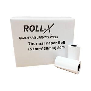 100 - 57x30mm Roll-X Thermal Till Rolls Chip & Pin PDQ (5 cases x 20) UKB784 8438475303852