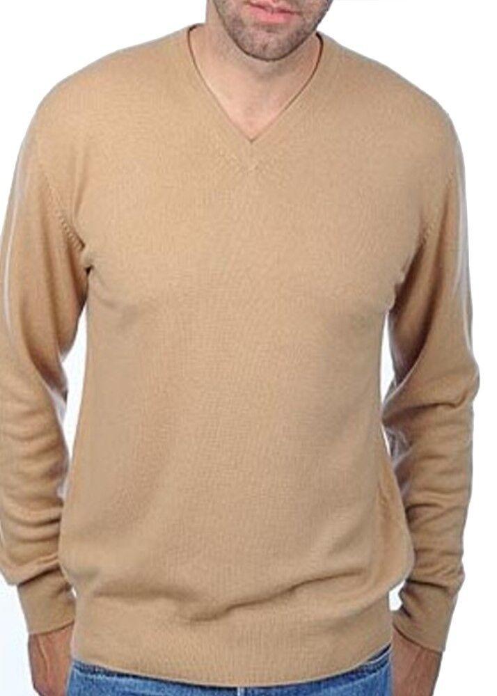 Balldiri 100% Cashmere Herren Pullover V Ausschnitt camel S