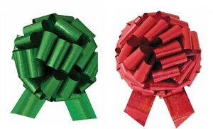 """14"""" XL Large Giant Christmas Red and Green Pull Bow Pew Bows Decorations Set"""