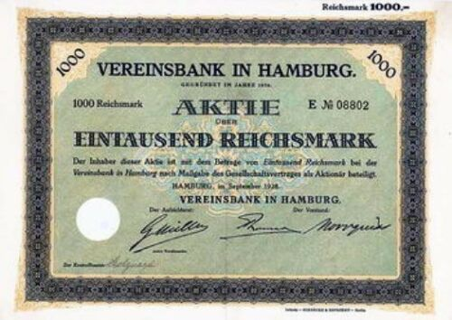 Vereinsbank in Hamburg histor. Bank Aktie 1928 Hypovereinsbank Unicredit Finanz